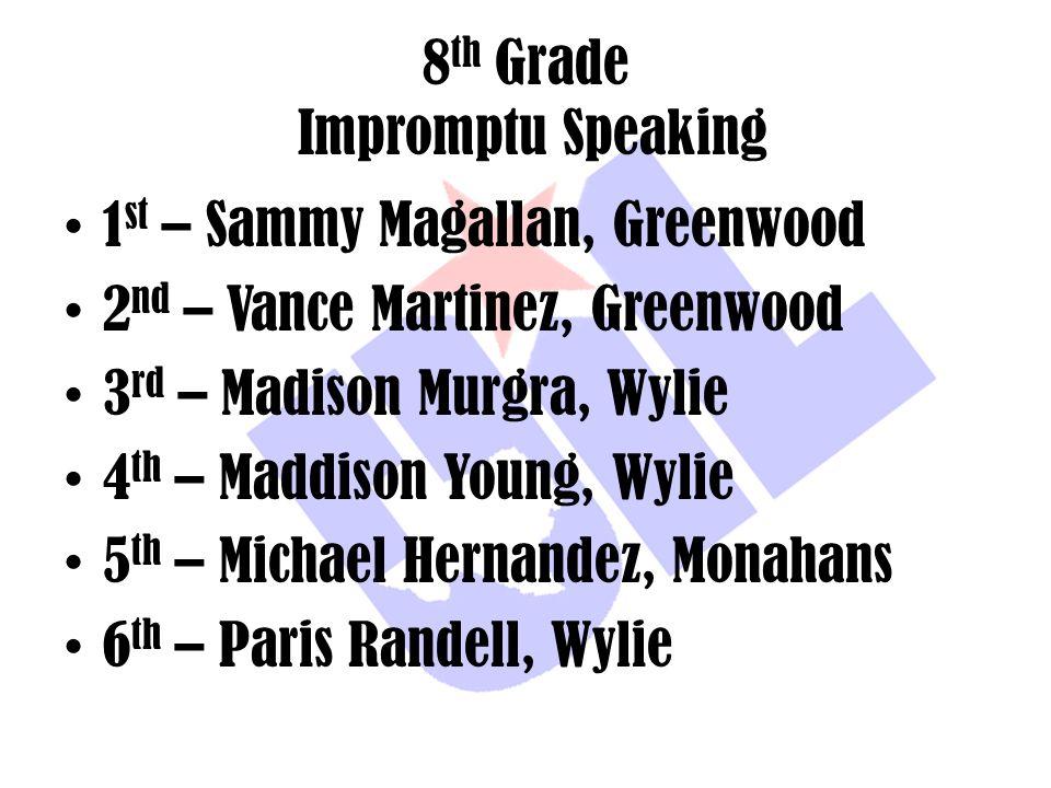 8 th Grade Impromptu Speaking 1 st – Sammy Magallan, Greenwood 2 nd – Vance Martinez, Greenwood 3 rd – Madison Murgra, Wylie 4 th – Maddison Young, Wy