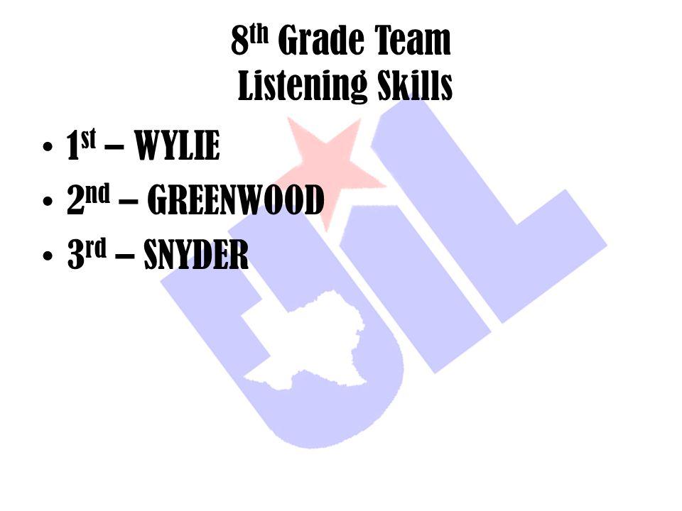 8 th Grade Team Listening Skills 1 st – WYLIE 2 nd – GREENWOOD 3 rd – SNYDER