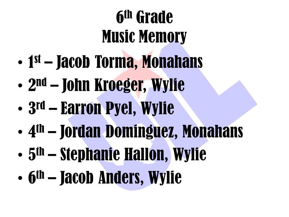 6 th Grade Music Memory 1 st – Jacob Torma, Monahans 2 nd – John Kroeger, Wylie 3 rd – Earron Pyel, Wylie 4 th – Jordan Dominguez, Monahans 5 th – Ste