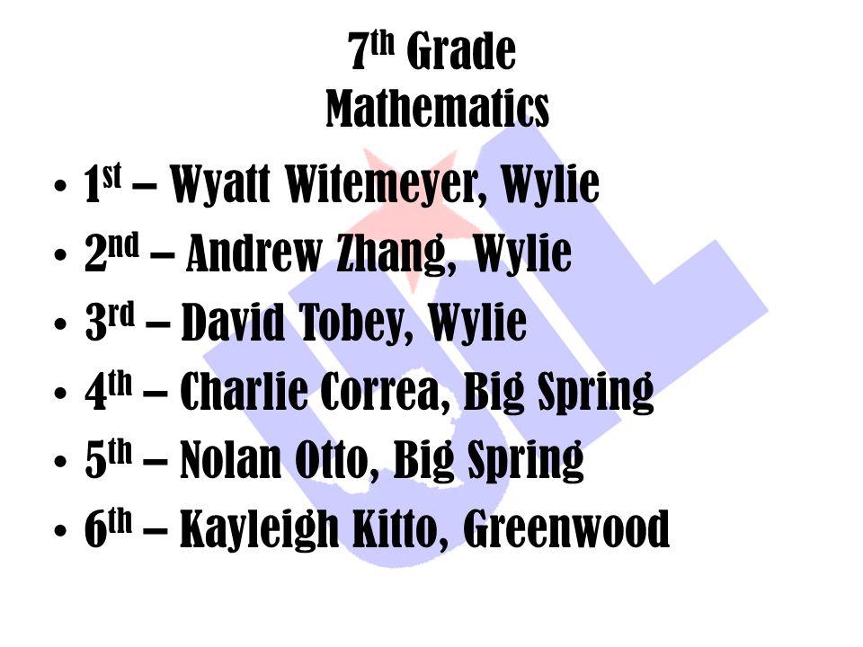 7 th Grade Mathematics 1 st – Wyatt Witemeyer, Wylie 2 nd – Andrew Zhang, Wylie 3 rd – David Tobey, Wylie 4 th – Charlie Correa, Big Spring 5 th – Nol