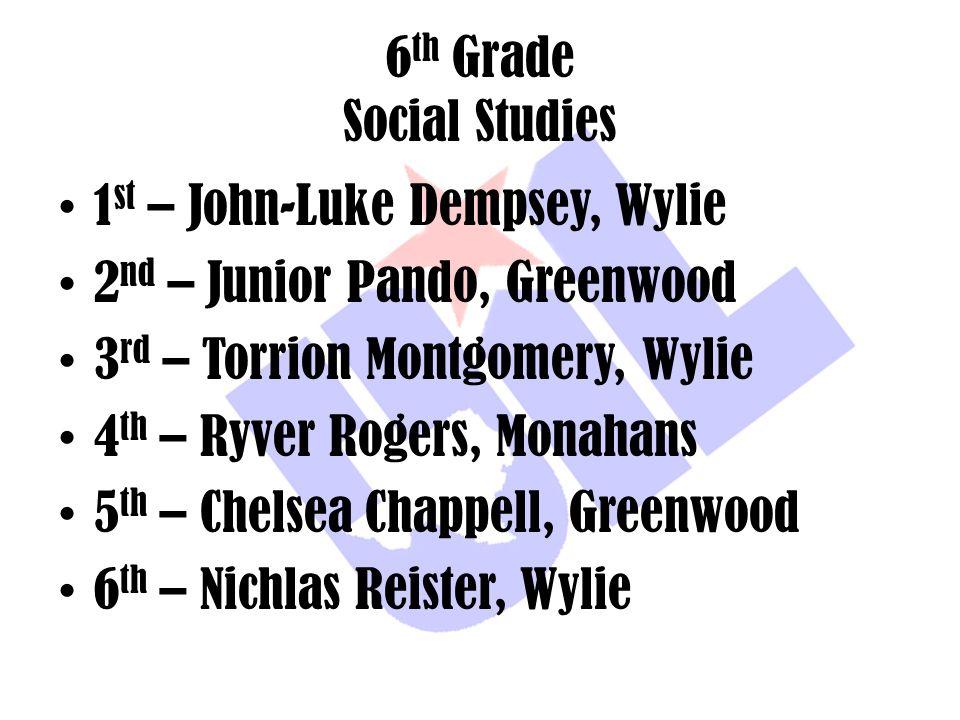 6 th Grade Social Studies 1 st – John-Luke Dempsey, Wylie 2 nd – Junior Pando, Greenwood 3 rd – Torrion Montgomery, Wylie 4 th – Ryver Rogers, Monahan