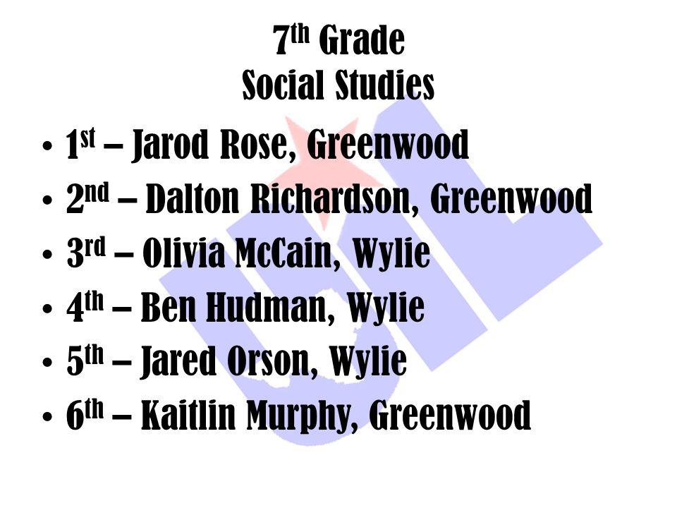 7 th Grade Social Studies 1 st – Jarod Rose, Greenwood 2 nd – Dalton Richardson, Greenwood 3 rd – Olivia McCain, Wylie 4 th – Ben Hudman, Wylie 5 th –