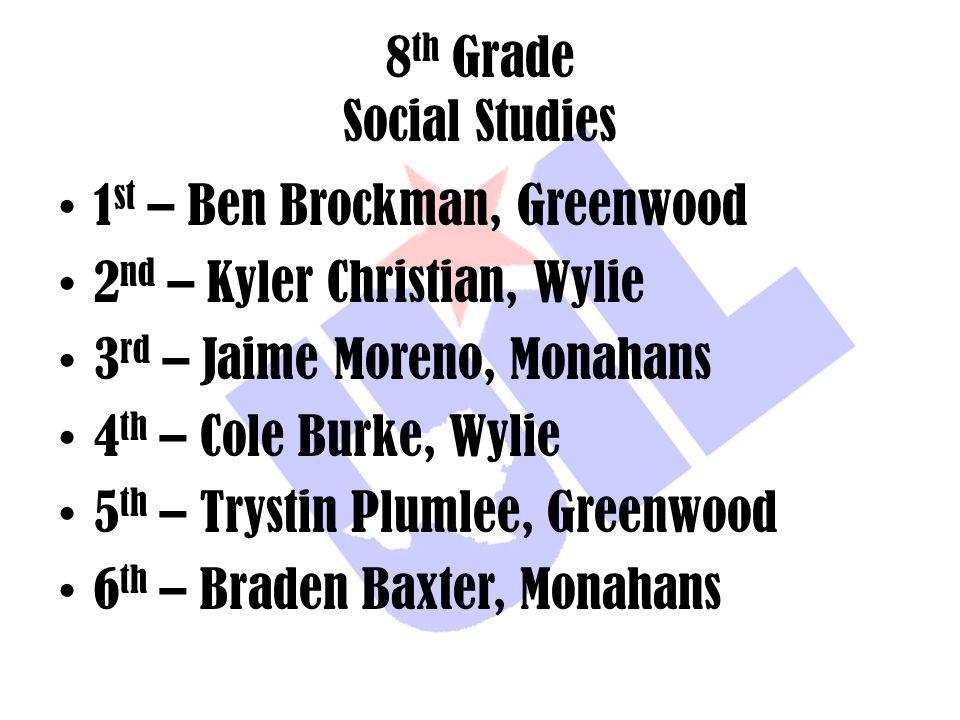 8 th Grade Social Studies 1 st – Ben Brockman, Greenwood 2 nd – Kyler Christian, Wylie 3 rd – Jaime Moreno, Monahans 4 th – Cole Burke, Wylie 5 th – T