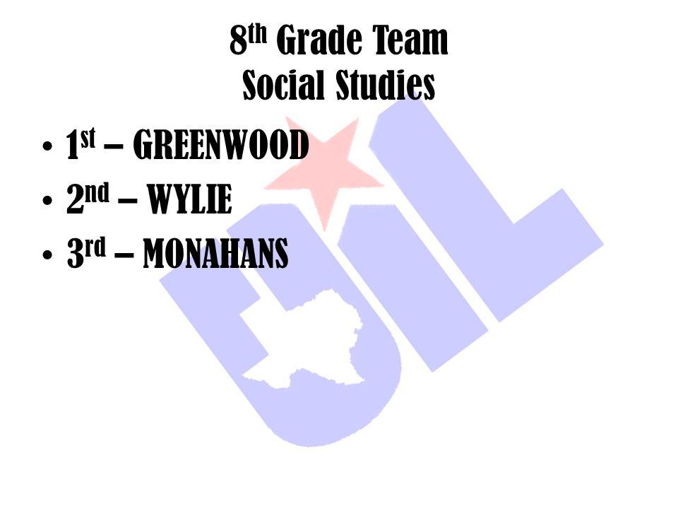 8 th Grade Team Social Studies 1 st – GREENWOOD 2 nd – WYLIE 3 rd – MONAHANS