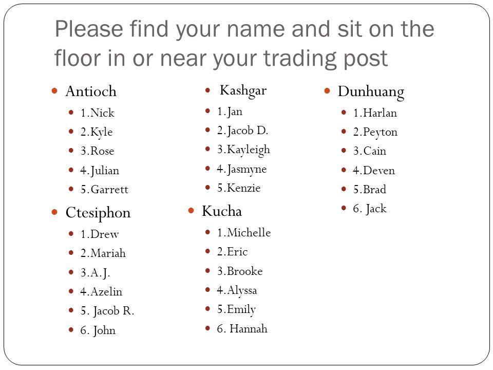 Please find your name and sit on the floor in or near your trading post Antioch 1.Nick 2.Kyle 3.Rose 4.Julian 5.Garrett Ctesiphon 1.Drew 2.Mariah 3.A.