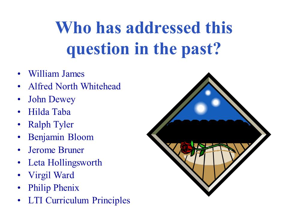Who has addressed this question in the past? William James Alfred North Whitehead John Dewey Hilda Taba Ralph Tyler Benjamin Bloom Jerome Bruner Leta