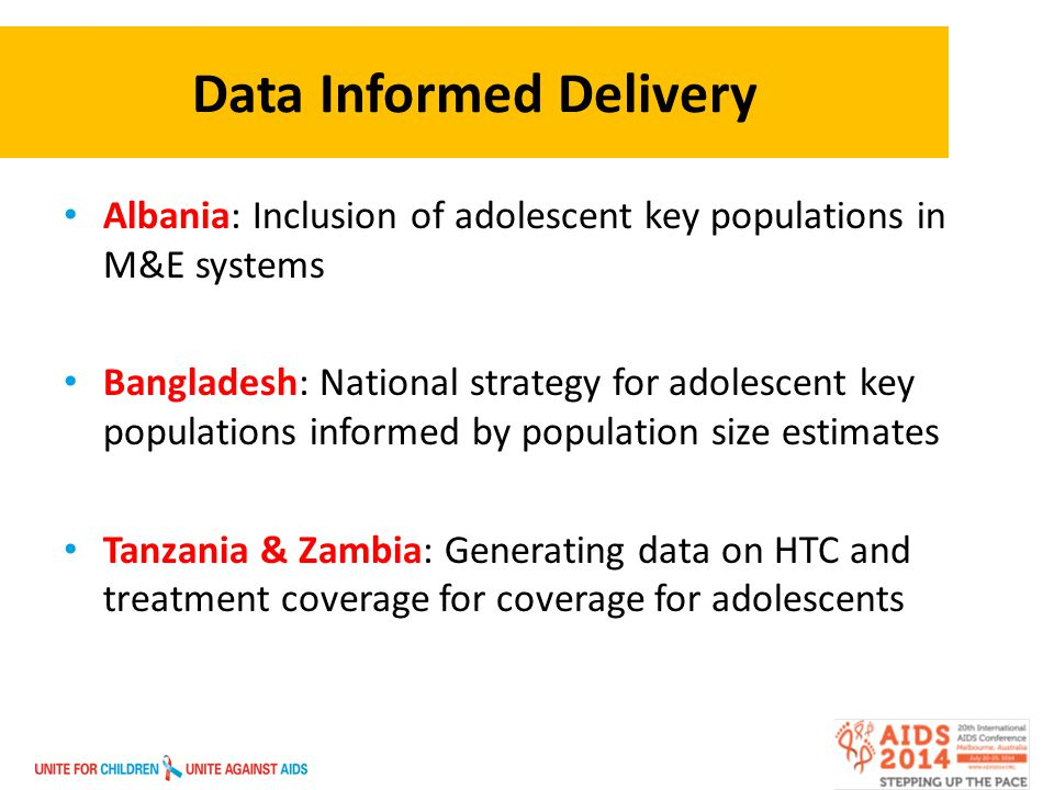 Data Informed Delivery Albania: Inclusion of adolescent key populations in M&E systems Bangladesh: National strategy for adolescent key populations informed by population size estimates Tanzania & Zambia: Generating data on HTC and treatment coverage for coverage for adolescents