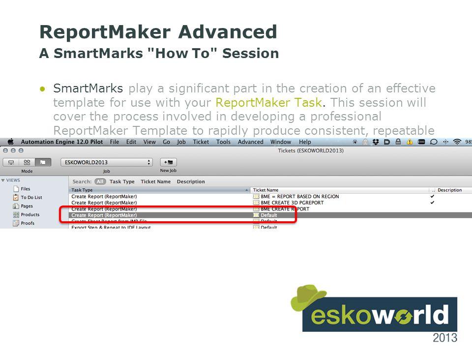 9 report input file reportmaker template (uses smartmarks)