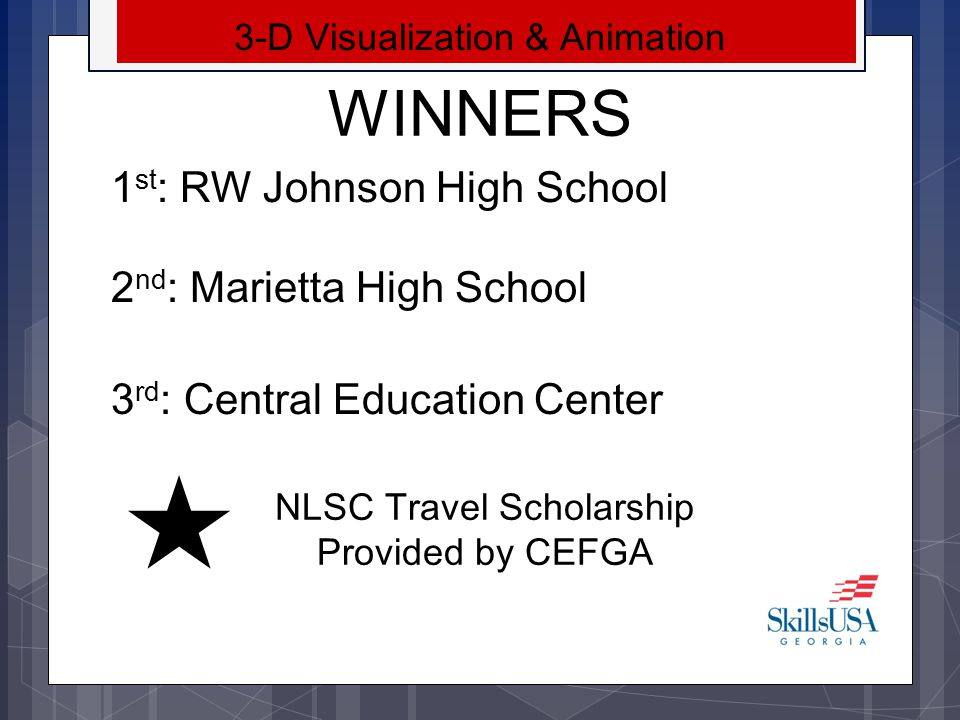 WINNERS SkillsUSA Georgia Brochure 1 st : Kelly Shofner– Heritage High School 2 nd : Ben Vinson – Whitewater High School 3 rd : Marissa Polston– Bradwell Institute