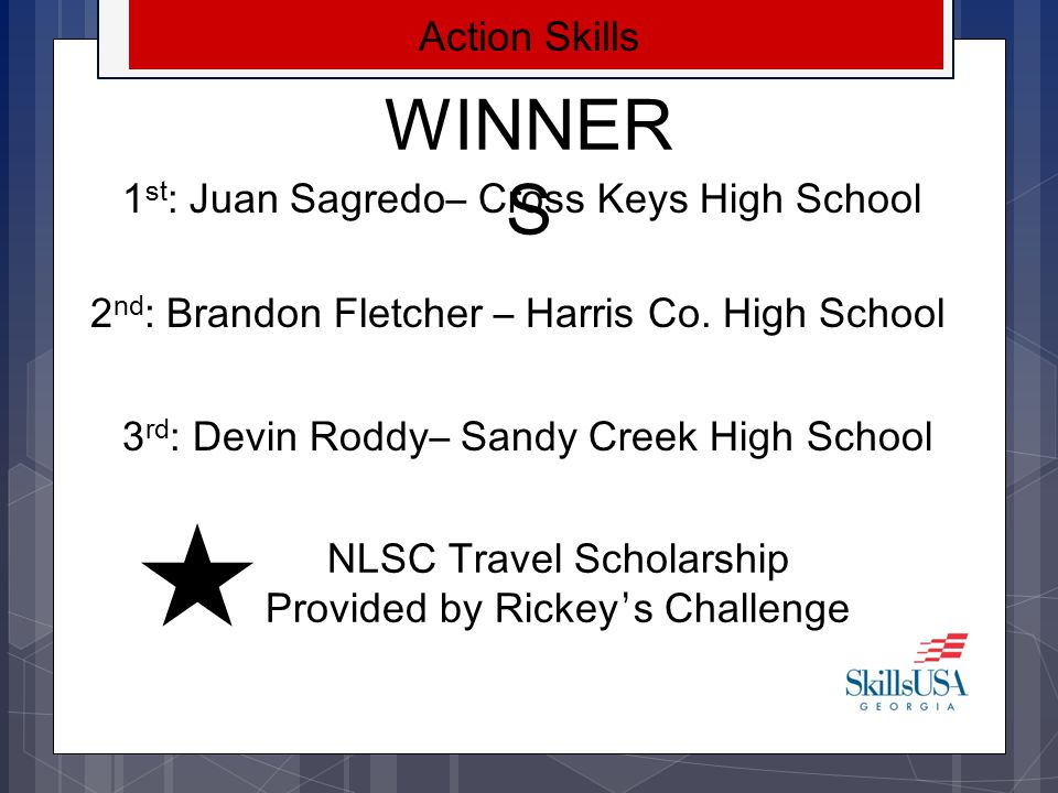 WINNERS Aviation Maintenance Technology 1 st : Reginald Clayton- Creekside High School 2 nd : Adam Nobles - Creekside High School 3 rd : Kevin Sands - Creekside High School NLSC Travel Scholarship Provided by Gulfstream