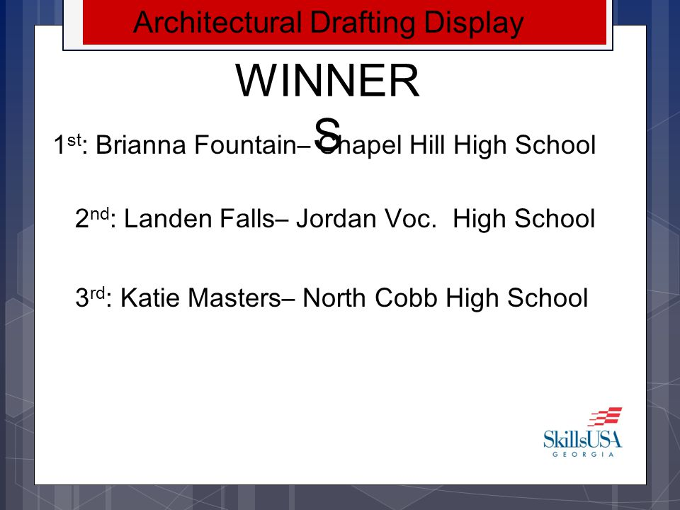 WINNER S Web Design 1 st : Central Education Center 2 nd : Maxwell High School 3 rd : Kendrick High School NLSC Travel Scholarship Provided by Georgia Power