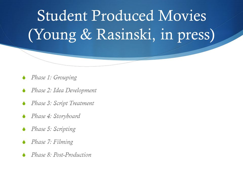 Student Produced Movies (Young & Rasinski, in press)  Phase 1: Grouping  Phase 2: Idea Development  Phase 3: Script Treatment  Phase 4: Storyboard  Phase 5: Scripting  Phase 7: Filming  Phase 8: Post-Production
