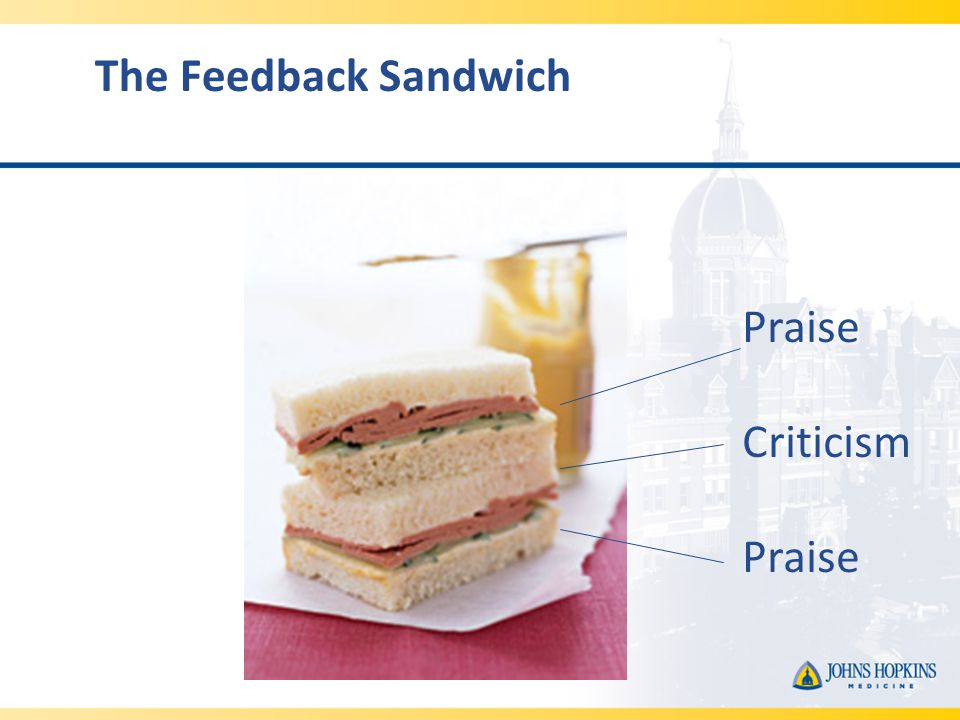 The Feedback Sandwich Praise Criticism Praise