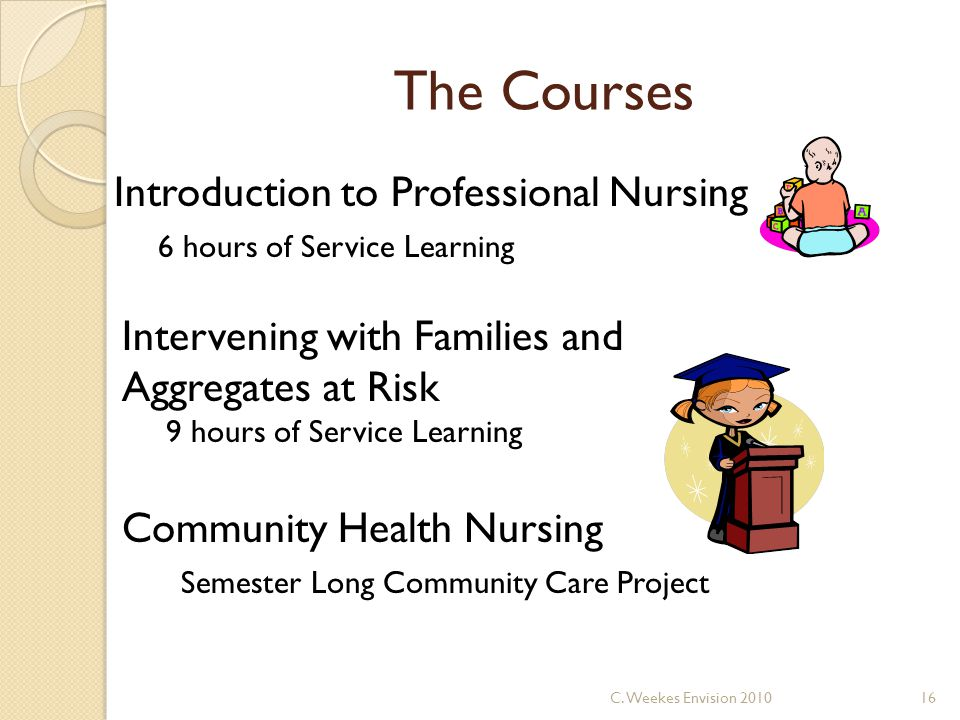 The Courses Introduction to Professional Nursing 6 hours of Service Learning Intervening with Families and Aggregates at Risk 9 hours of Service Learning Community Health Nursing Semester Long Community Care Project 16C.