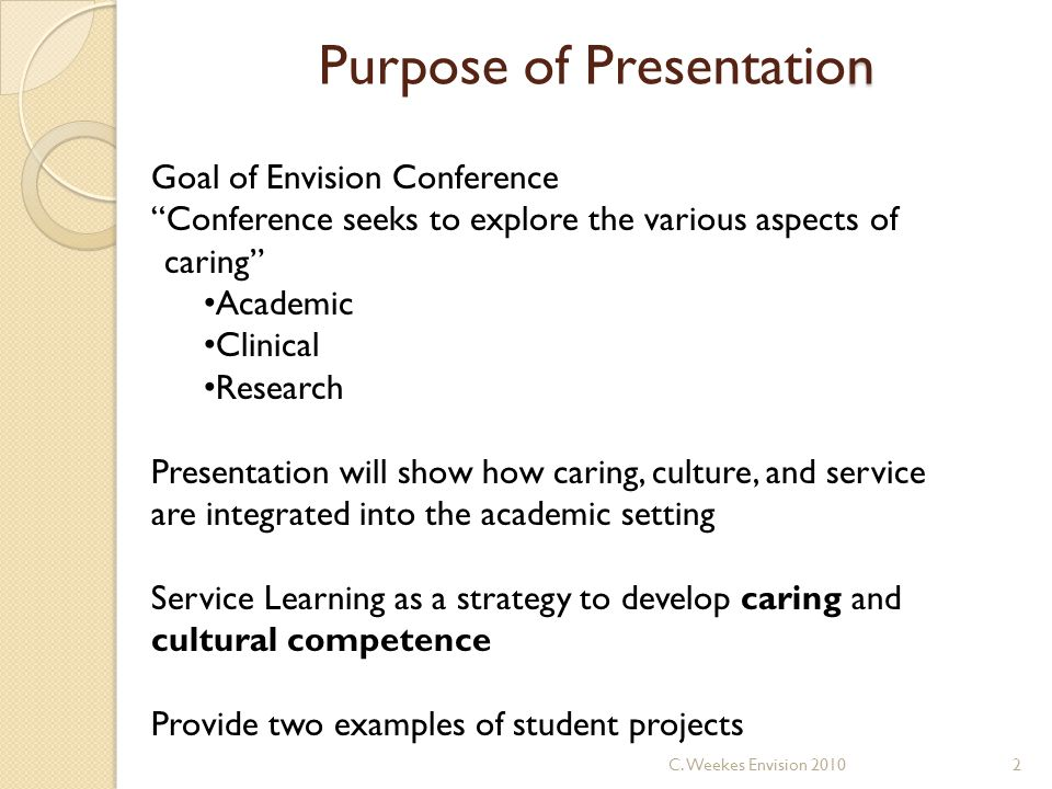 n Purpose of Presentation Goal of Envision Conference Conference seeks to explore the various aspects of caring Academic Clinical Research Presentation will show how caring, culture, and service are integrated into the academic setting Service Learning as a strategy to develop caring and cultural competence Provide two examples of student projects 2C.