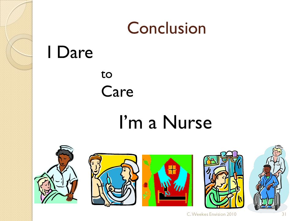 Conclusion I Dare to Care I'm a Nurse 31C. Weekes Envision 2010
