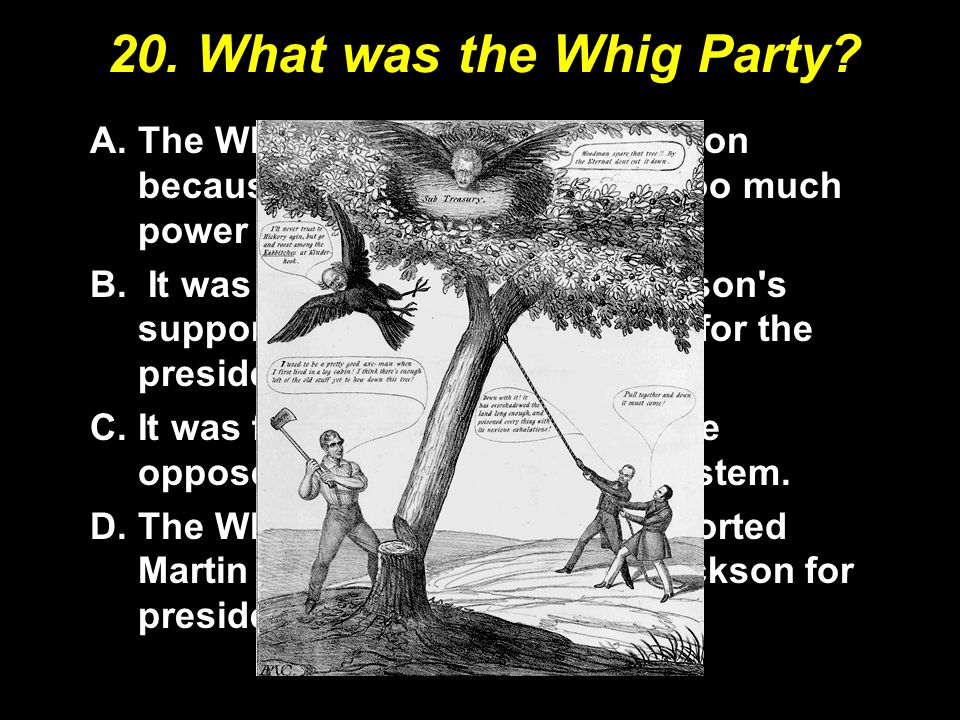 20. What was the Whig Party? A.The Whigs were opposed Jackson because he had concentrated too much power in the presidency. B. It was a party founded