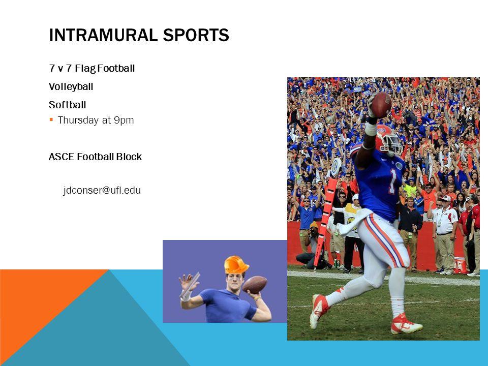 INTRAMURAL SPORTS 7 v 7 Flag Football Volleyball Softball  Thursday at 9pm ASCE Football Block jdconser@ufl.edu