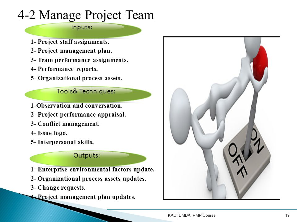 KAU, EMBA, PMP Course19 4-2 Manage Project Team 1- Project staff assignments.