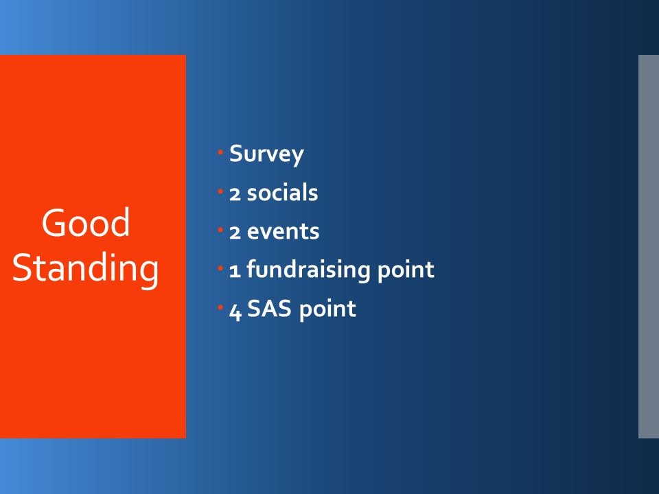 Good Standing  Survey  2 socials  2 events  1 fundraising point  4 SAS point