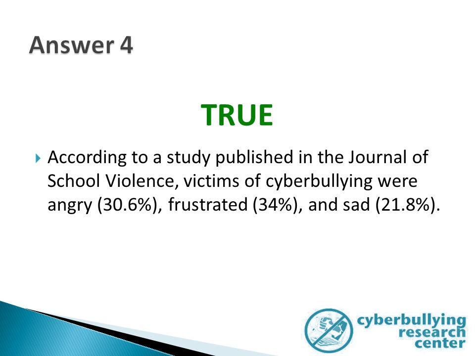  According to a study published in the Journal of School Violence, victims of cyberbullying were angry (30.6%), frustrated (34%), and sad (21.8%).