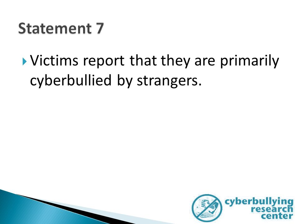  Victims report that they are primarily cyberbullied by strangers.