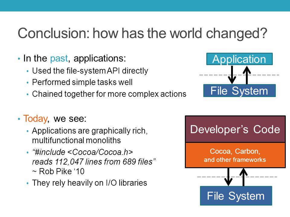 In the past, applications: Used the file-system API directly Performed simple tasks well Chained together for more complex actions Today, we see: Applications are graphically rich, multifunctional monoliths #include reads 112,047 lines from 689 files ~ Rob Pike '10 They rely heavily on I/O libraries Cocoa, Carbon, and other frameworks File System Developer's Code Conclusion: how has the world changed.