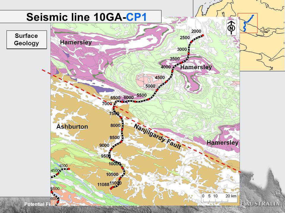 Potential Field Interpretation of the Capricorn Orogen Seismic line 10GA-CP1 Hamersley Ashburton Magnetics RTP Surface Geology Nanjilgardy Fault
