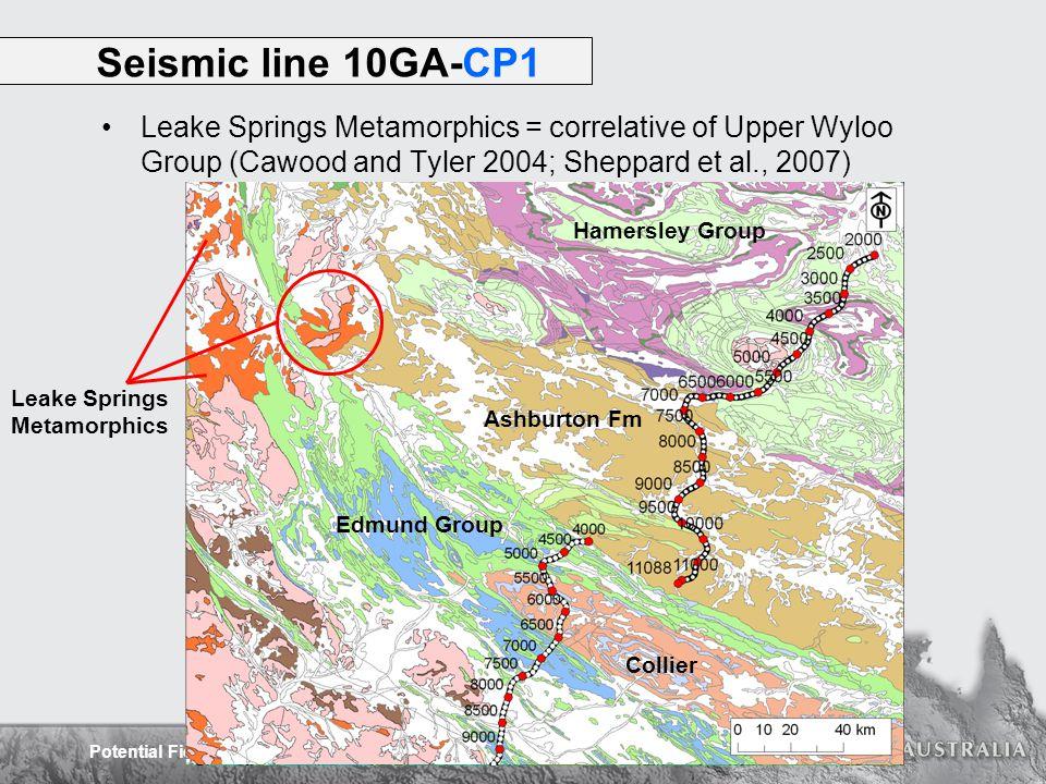 Potential Field Interpretation of the Capricorn Orogen Leake Springs Metamorphics = correlative of Upper Wyloo Group (Cawood and Tyler 2004; Sheppard et al., 2007) Seismic line 10GA-CP1 Ashburton Fm Hamersley Group Collier Edmund Group Leake Springs Metamorphics