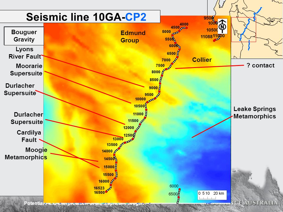 Potential Field Interpretation of the Capricorn Orogen Seismic line 10GA-CP2 Collier Moorarie Supersuite Durlacher Supersuite Moogie Metamorphics Edmund Group Leake Springs Metamorphics Lyons River Fault .