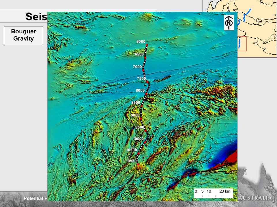 Potential Field Interpretation of the Capricorn Orogen Seismic line 10GA-CP3 Errabiddy Shear Zone Narryer Terrane Dalgaringa Supersuite Surface Geology Magnetics RTP Magnetics Worms Gravity Worms Bouguer Gravity