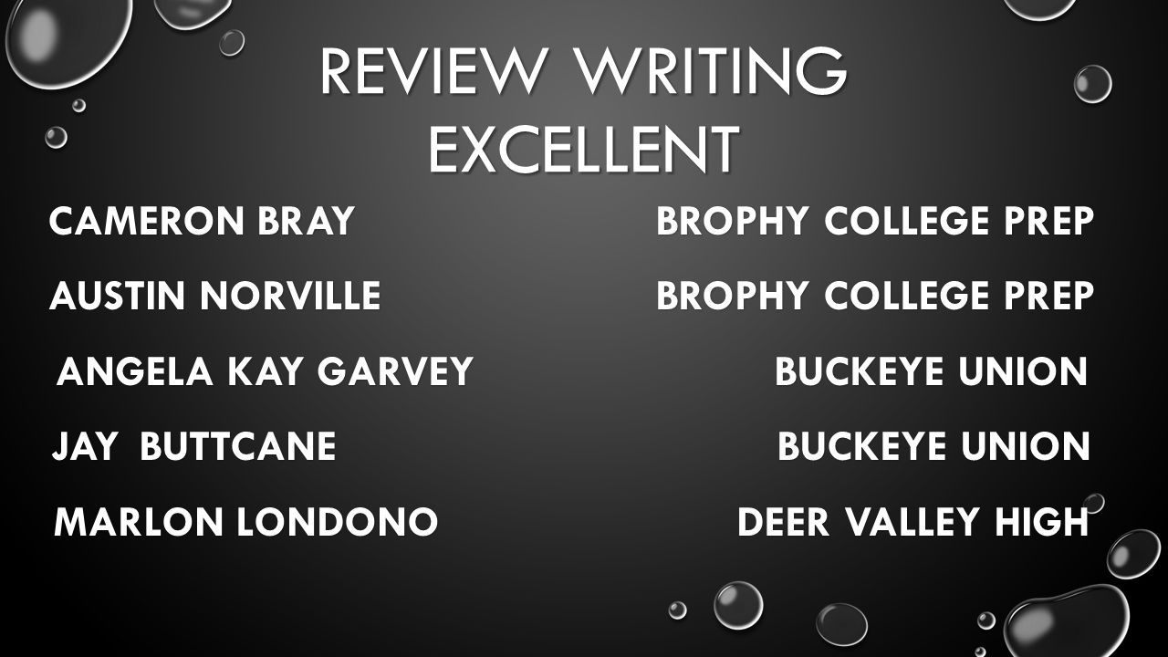REVIEW WRITING EXCELLENT CAMERON BRAY BROPHY COLLEGE PREP AUSTIN NORVILLE BROPHY COLLEGE PREP ANGELA KAY GARVEY BUCKEYE UNION JAYBUTTCANE BUCKEYE UNION MARLON LONDONO DEER VALLEY HIGH