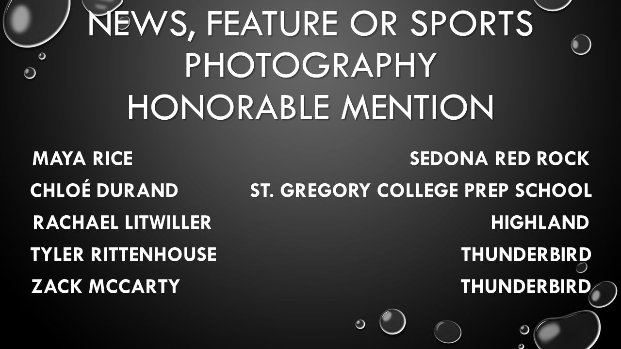 NEWS, FEATURE OR SPORTS PHOTOGRAPHY HONORABLE MENTION MAYA RICE SEDONA RED ROCK CHLOÉ DURAND ST.