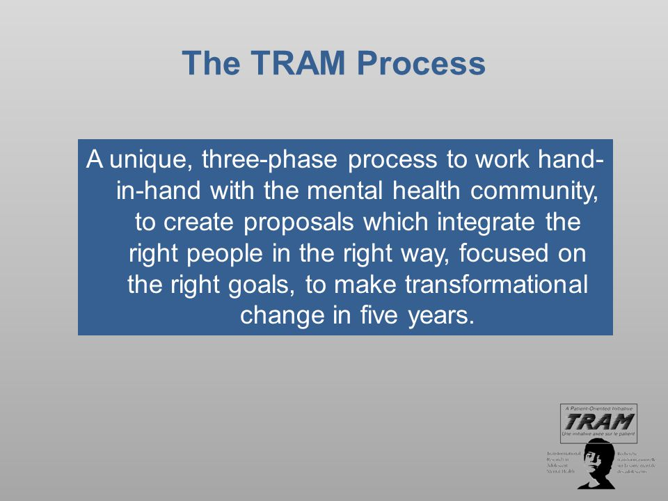 The TRAM Process A unique, three-phase process to work hand- in-hand with the mental health community, to create proposals which integrate the right people in the right way, focused on the right goals, to make transformational change in five years.