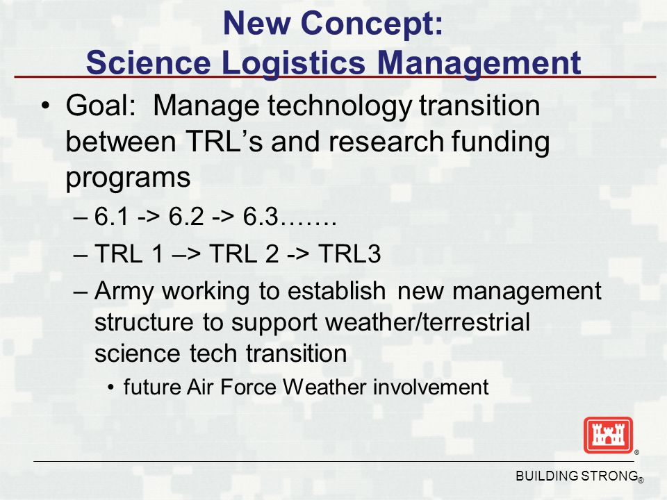 BUILDING STRONG ® New Concept: Science Logistics Management Goal: Manage technology transition between TRL's and research funding programs –6.1 -> 6.2 -> 6.3…….