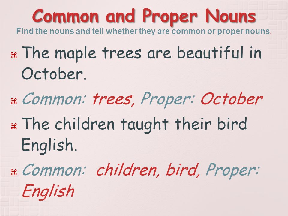 Common and Proper Nouns Common and Proper Nouns Find the nouns and tell whether they are common or proper nouns.