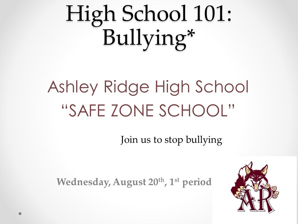 High School 101: Bullying* Why are we discussing bullying with you.