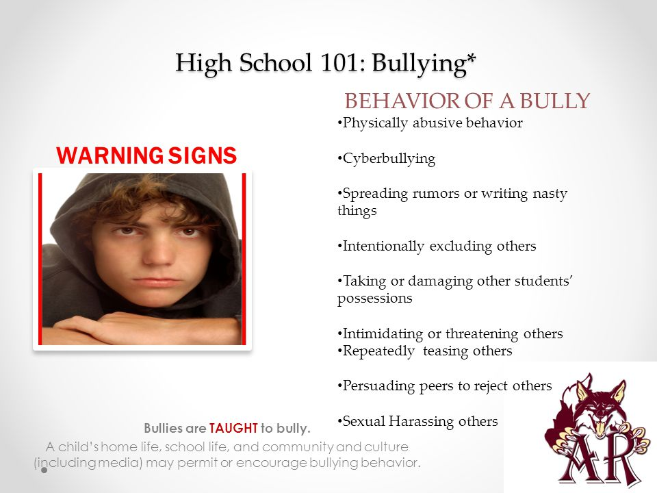High School 101: Bullying* Bullies are TAUGHT to bully.