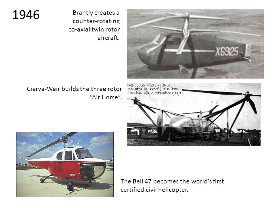 "1946 Brantly creates a counter-rotating co-axial twin rotor aircraft. Cierva-Weir builds the three rotor ""Air Horse"". The Bell 47 becomes the world's"