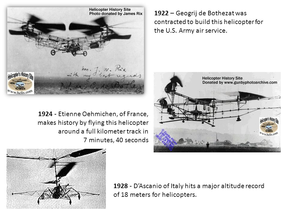 1922 – Geogrij de Bothezat was contracted to build this helicopter for the U.S. Army air service. 1924 - Etienne Oehmichen, of France, makes history b