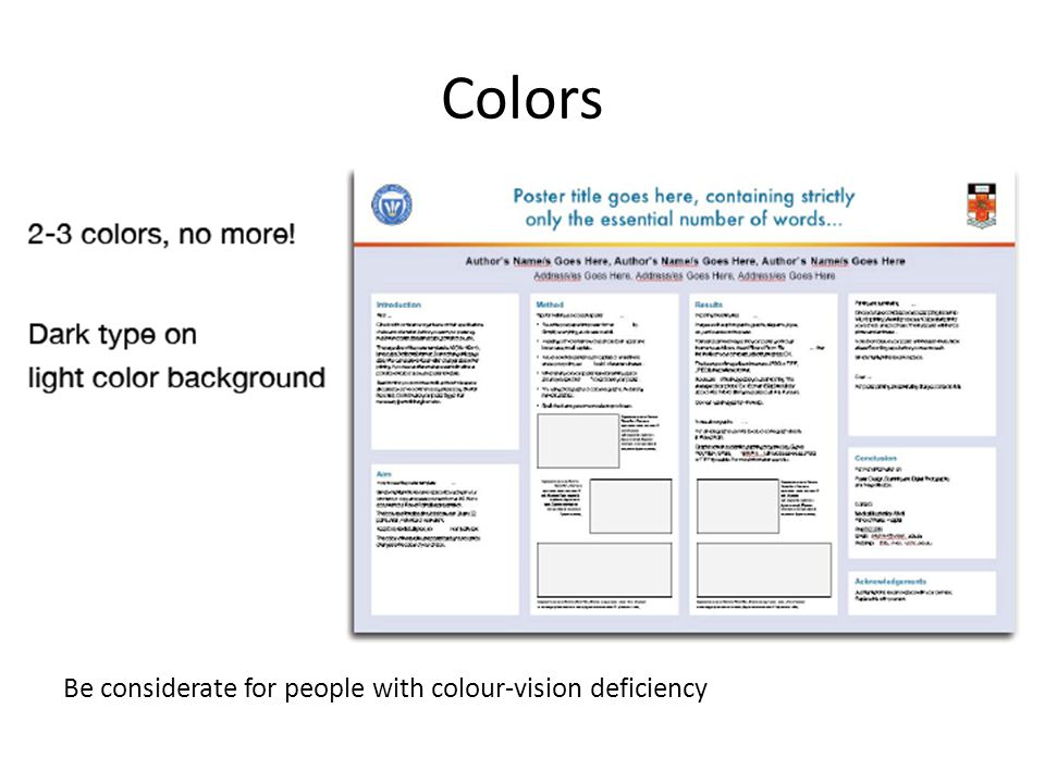 Colors Be considerate for people with colour-vision deficiency