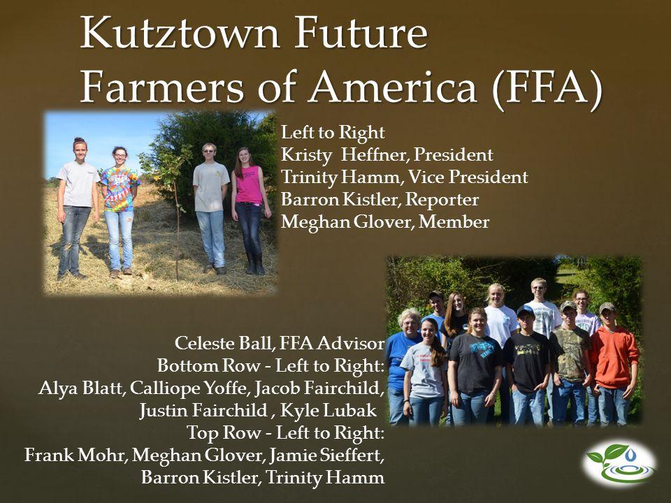 Kutztown Future Farmers of America (FFA) Left to Right Kristy Heffner, President Trinity Hamm, Vice President Barron Kistler, Reporter Meghan Glover,