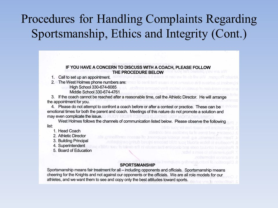 Procedure for Handling Complaints Regarding Sportsmanship, ethics and Integrity