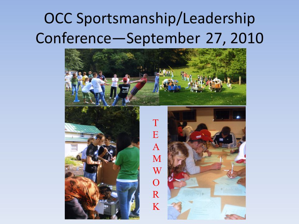 Knights of the Round Table Activities Meeting—September 13, 2010: --All members present --Topics to be discussed: -Meet in the Middle football game with Clear Fork -Sizes for sportsmanship t-shirts to sell at football game -Plan for OCC Sportsmanship/Leadership Camp -Fundraising ideas -Plan for OCC float to enter in the Antique Festival Parade -Spirit Week
