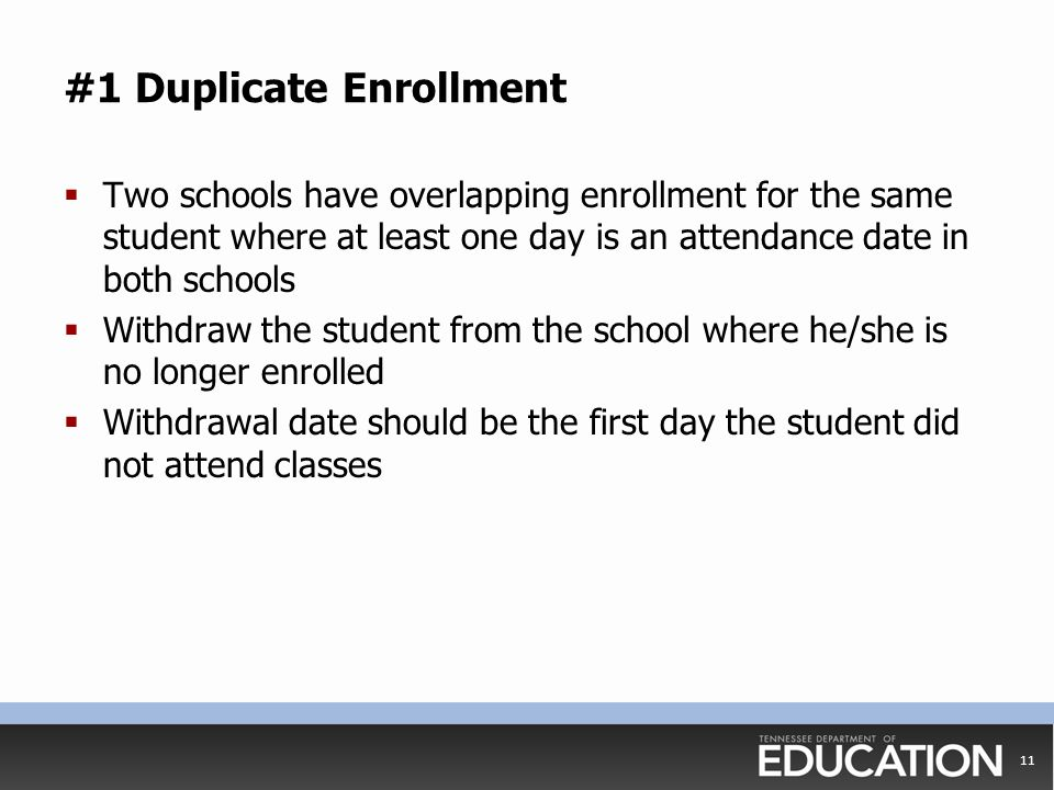 #1 Duplicate Enrollment  Two schools have overlapping enrollment for the same student where at least one day is an attendance date in both schools 