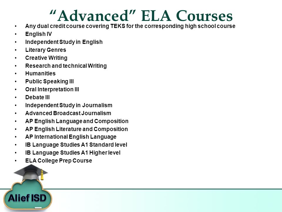 Advanced ELA Courses Any dual credit course covering TEKS for the corresponding high school course English IV Independent Study in English Literary Genres Creative Writing Research and technical Writing Humanities Public Speaking III Oral Interpretation III Debate III Independent Study in Journalism Advanced Broadcast Journalism AP English Language and Composition AP English Literature and Composition AP International English Language IB Language Studies A1 Standard level IB Language Studies A1 Higher level ELA College Prep Course