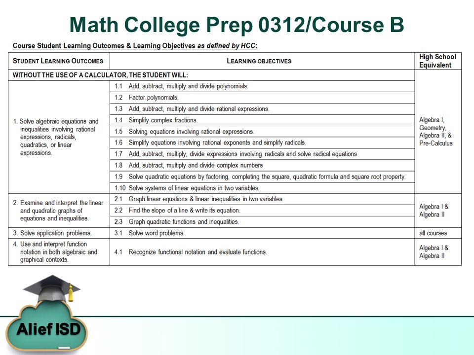 Math College Prep 0312/Course B