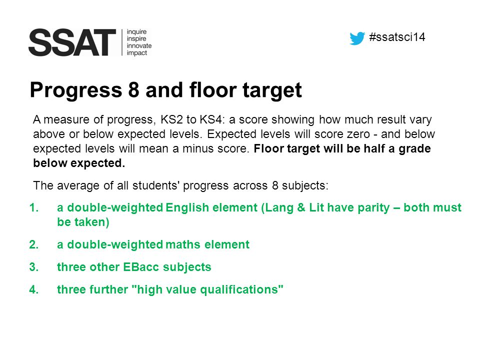 A measure of progress, KS2 to KS4: a score showing how much result vary above or below expected levels. Expected levels will score zero - and below ex