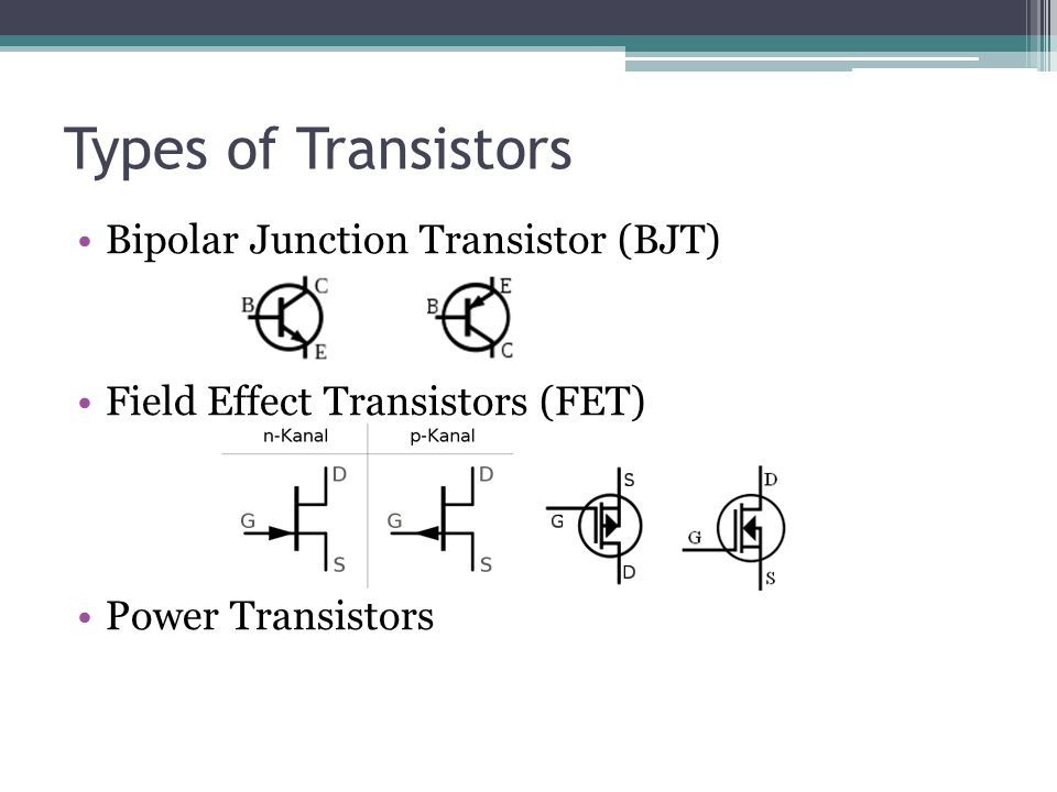 Types of Transistors Bipolar Junction Transistor (BJT) Field Effect Transistors (FET) Power Transistors