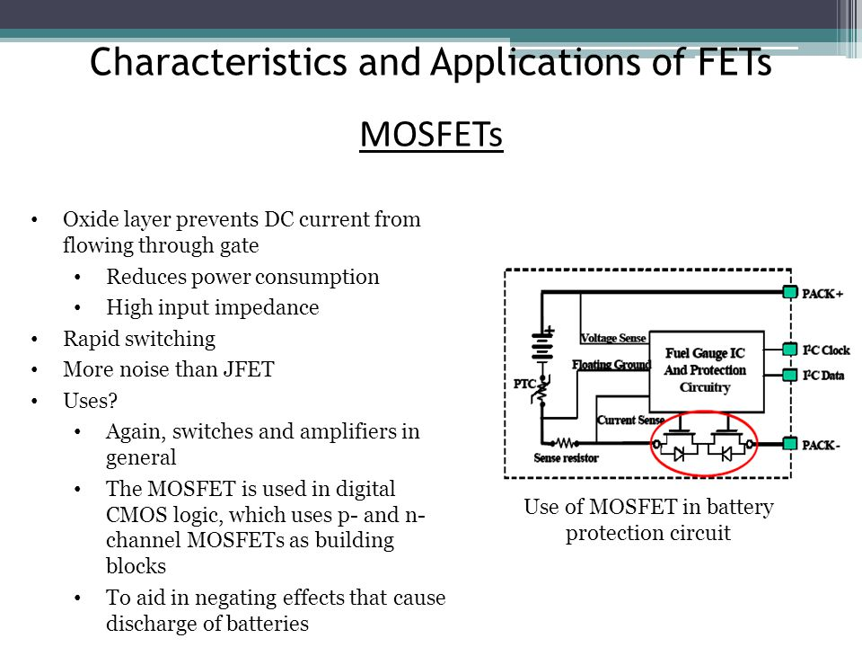 Characteristics and Applications of FETs MOSFETs Oxide layer prevents DC current from flowing through gate Reduces power consumption High input impedance Rapid switching More noise than JFET Uses.